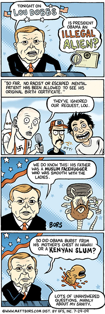 matt bors on lou dobbs and certifigate