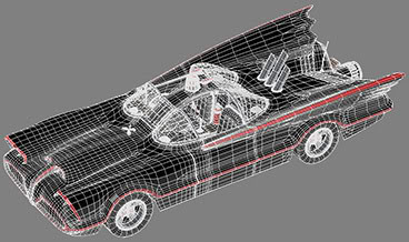 batmobile 1960 wireframe